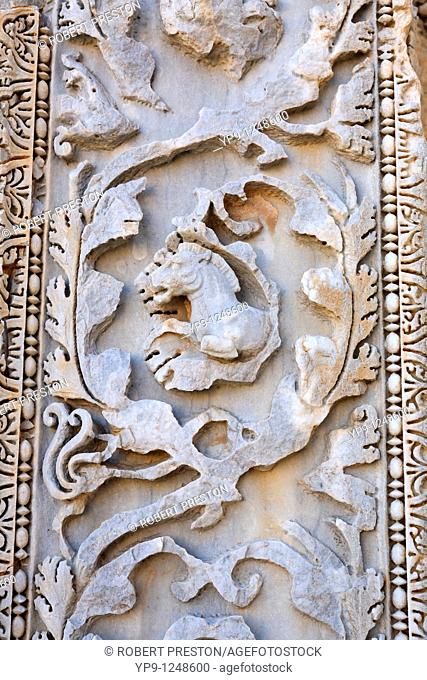 Ornately sculpted pillar at the Basilica of Severus, Leptis Magna, Libya
