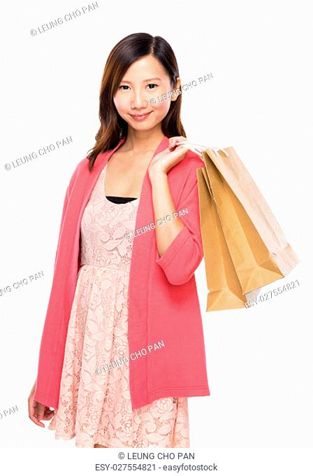 Asian woman with shopping bag