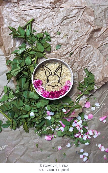 Oatmeal decorated with a dark chocolate rabbit