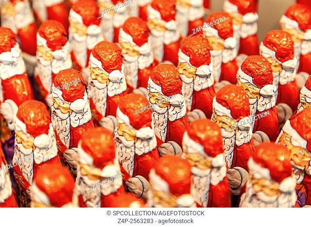 Santa Claus chocolate in supermarket