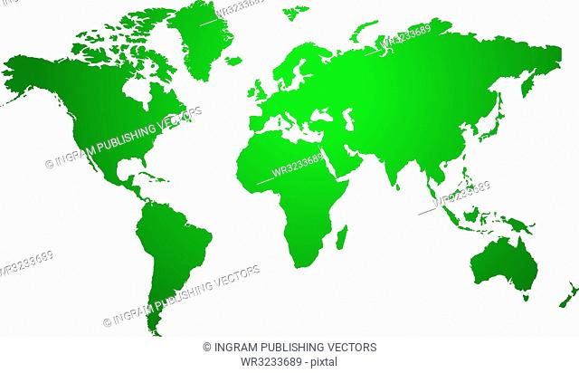 Illustration of a world map in two tone green ideal as a background