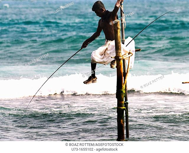 A Sri Lankan fisherman perched on his pole for a few hours trying to catch his family's dinner meal