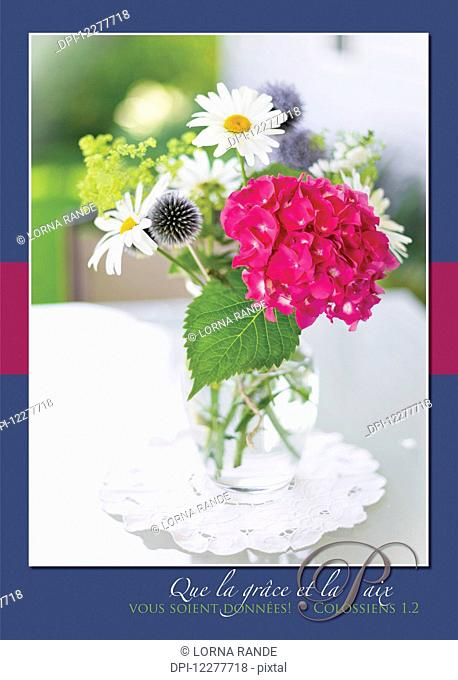 Hydrangea bouquet with scripture verse; Chilliwack, British Columbia, Canada