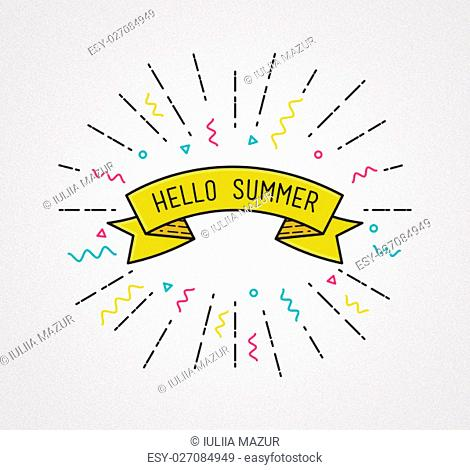 Summer camp poster in flat design. Inspirational illustration, motivational quotes typographic poster design, thin line icons for frame, greeting card
