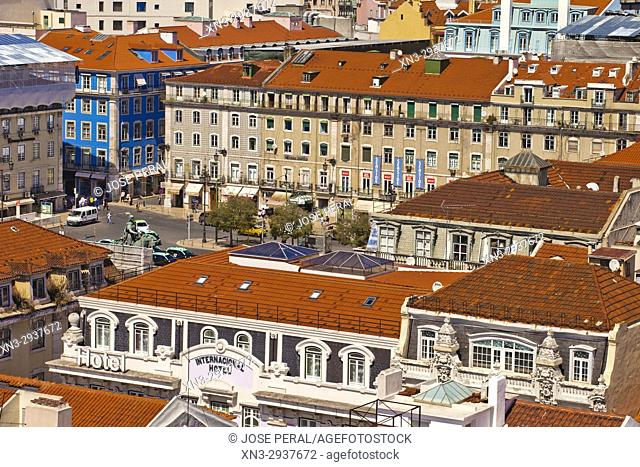 View of Figueira Square, Square of the Fig Tree, Praça da Figueira, from Santa Justa Lift or Carmo Lift, Elevador de Santa Justa, Baixa, Lisbon, Portugal