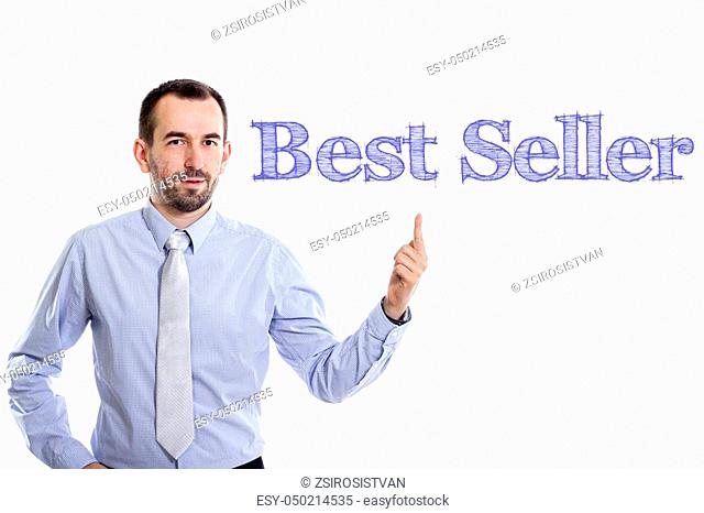 Best Seller - Young businessman with small beard pointing up in blue shirt - horizontal image
