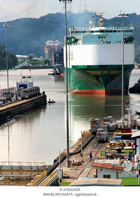 Container ship in Gatun lock on the Panama Canal, Panama, Panama City