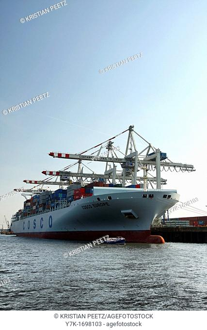 View of the activities, logistic and technical equipment of the Port of Hamburg along the river Elbe, Germany