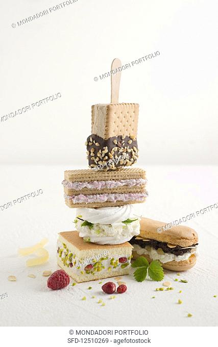 Homemade ice cream sandwiches with various cakes and sweet treats