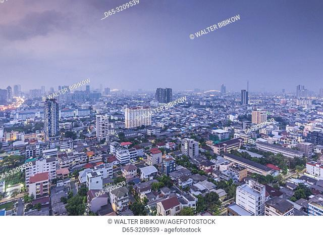 Thailand, Bangkok, Silom Area, high angle skyline view, dawn