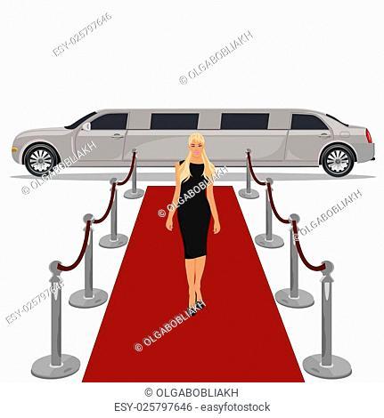 limousine with red carpet concept, flat design, vector illustration