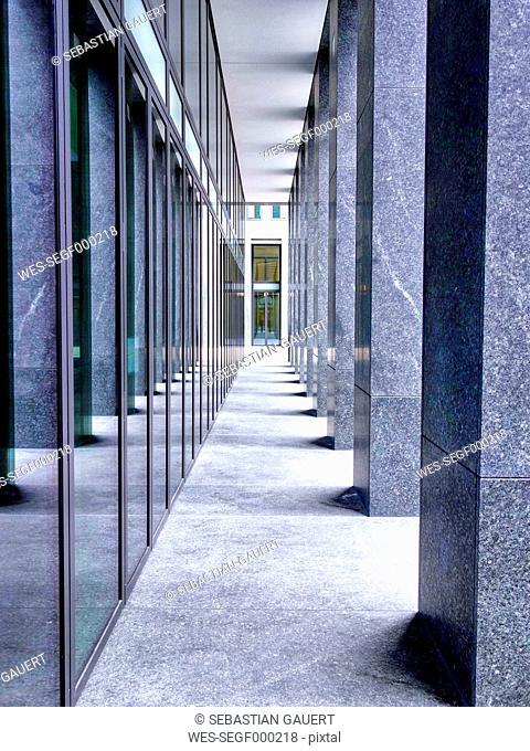 Switzerland, Zurich, passageway of modern building