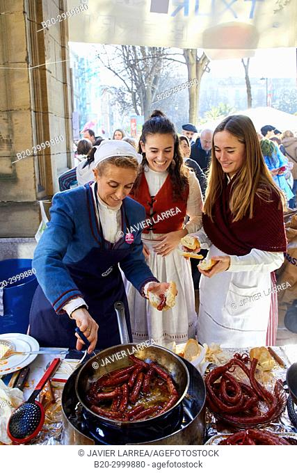 Txistorra, Fried sausage, Feria de Santo Tomás, The feast of St. Thomas takes place on December 21. During this day San Sebastián is transformed into a rural...