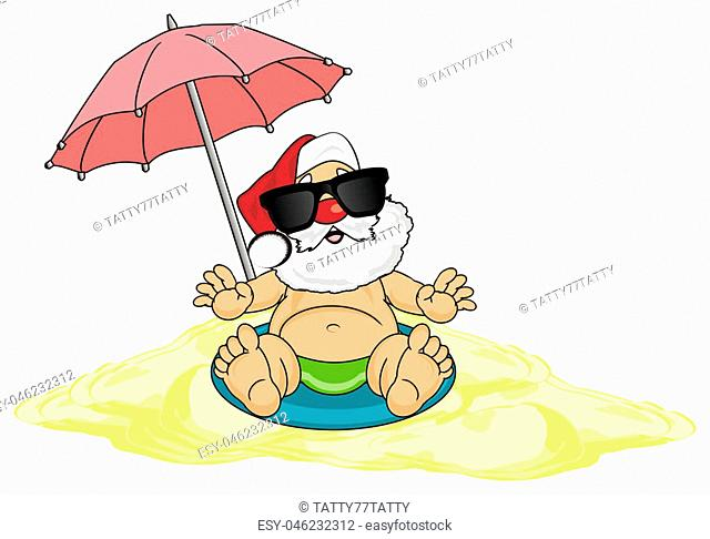 happy Santa Claus and summer time
