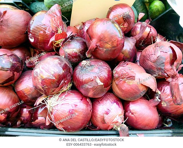 red onion at the market Denia Spain
