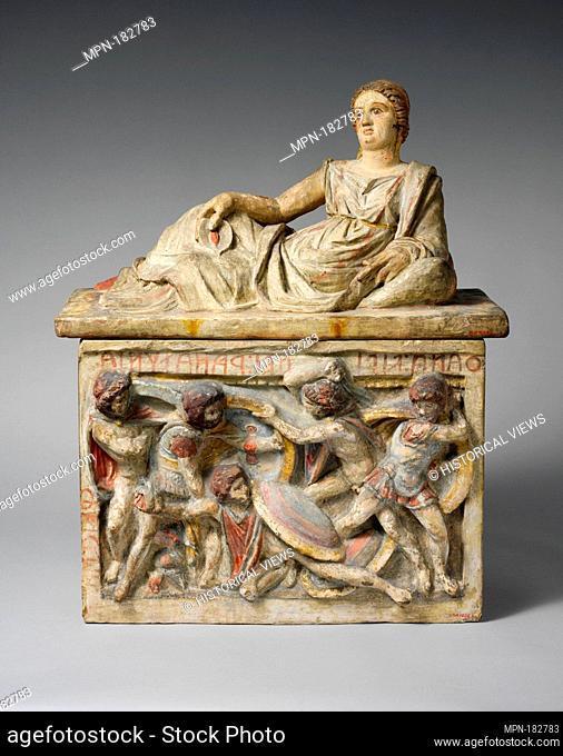 Terracotta cinerary urn. Period: Hellenistic; Date: 2nd century B.C; Culture: Etruscan; Medium: Terracotta; Dimensions: Height: 28 1/4 in. (71