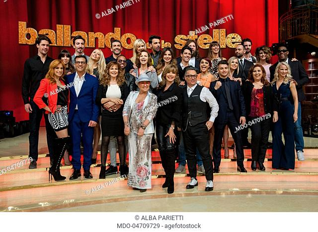 Milly Carlucci, Paolo Belli and Carolyn Smith with the entire cast, competitors and dancers masters, at the press conference of the RAI TV show Ballando con le...