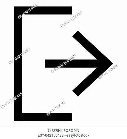 Symbol exit icon black color vector illustration flat style simple image