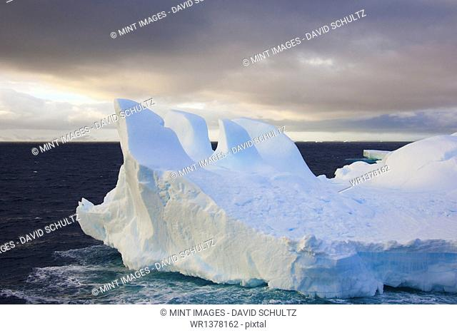 Icebergs floating on the Antarctic southern oceans. Eroded by wind and weather, creating interesting shapes