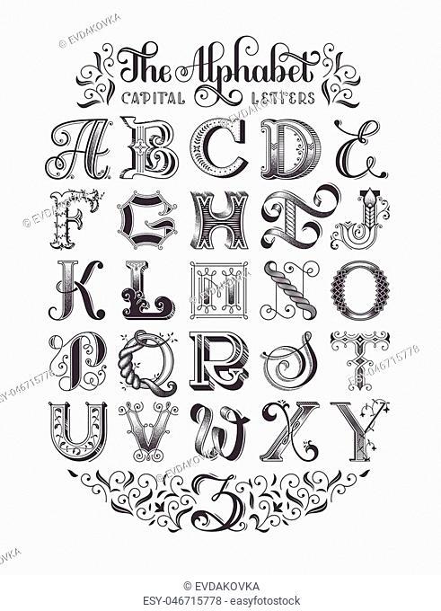 Decorative vintage alphabet. Original high-detalized capital letters. Typographic poster. EPS 10 vector illustration