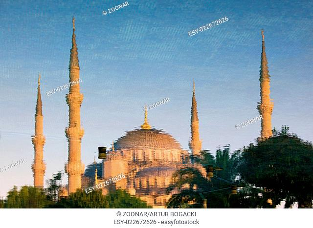 Blue Mosque Reflection on Water