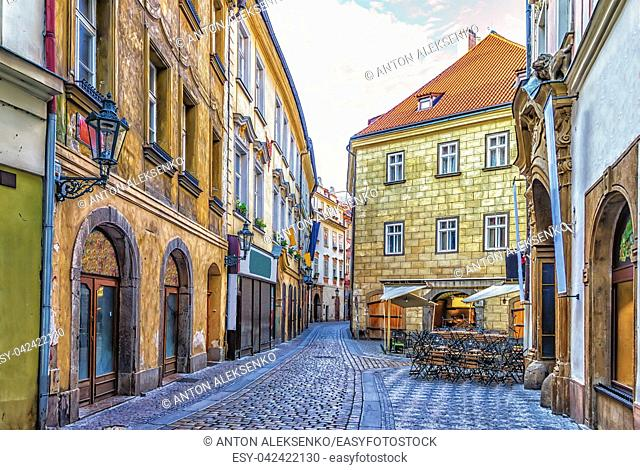 Prague Street in Old town and a street restaurant, no people