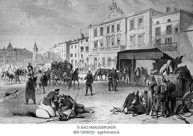 Marketplace in Pont-a-Mousson, Lorraine, France, 19th August 1870 historical illustration, Illustrierte Kriegschronik 1870 - 1871 illustrated chronicle of war