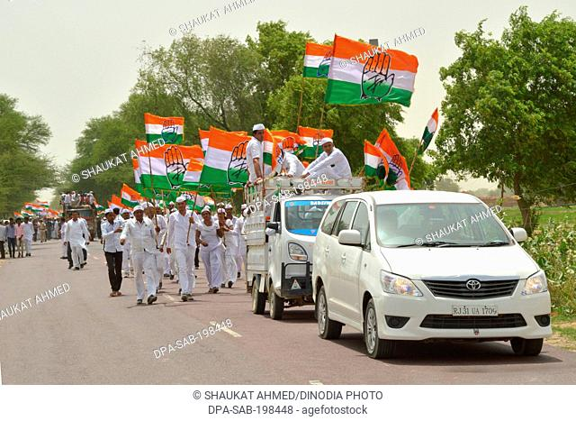 Indian national congress, workers during rahul gandhi rally, hanumangarh, rajasthan, india, asia