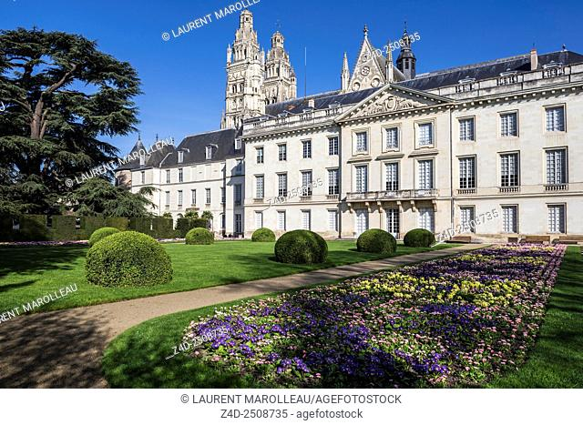 Fine Arts Museum, in a Former Archbishop's Palace, with Flowerbed on foreground. Tours, Indre et Loire, Loire Valley, France, Europe