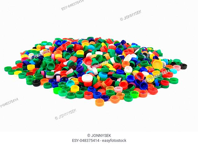 plastic pet caps isolated on the white background