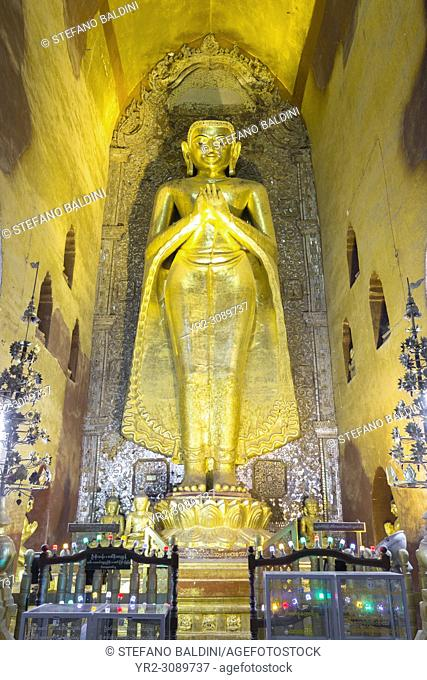 North facing Kakusandha Buddha statue, gilded wood, Ananda temple, Bagan, Myanmar