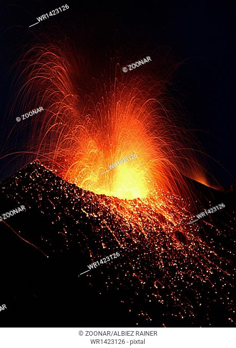 Volcano Stromboli erupting