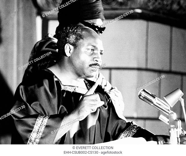 David Hill of House of Israel speaks at 'Operation Black Unity' rally. Cleveland, Ohio. August 1969. He fleeced his followers with phony scheme to boycott...