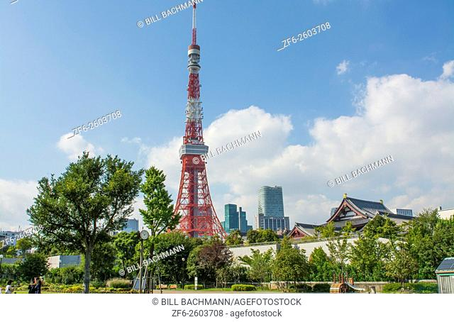 Tokyo Japan scenic of Tokyo Tower and the Zojo-ji Temple in Shiba neighborhood in downtown city view