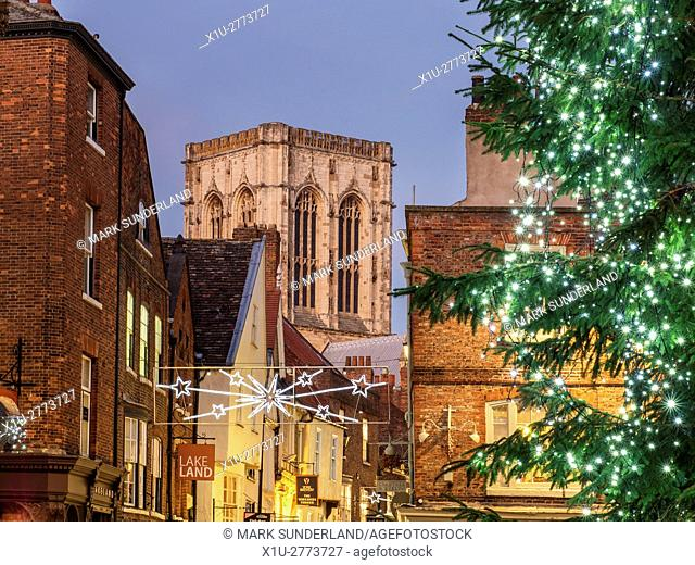 York Minster and Stonegate from St Helens Square at Dusk at Christmas York Yorkshire England