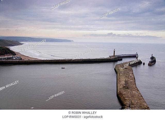 Pier and sea defences of Whitby. A large portion of Bram Stoker's famous novel was set in Whitby, describing Dracula's arrival in Britain on a ship washed...