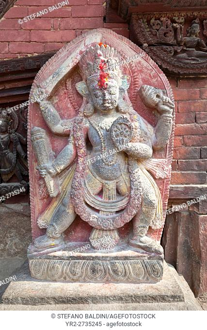 Hindu stone sculpture of Vishnu flanking the entrance to Changu Narayan temple near Bhaktapur, Nepal