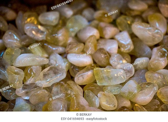 Set of natural mineral gemstones of a certain type as little pebbles