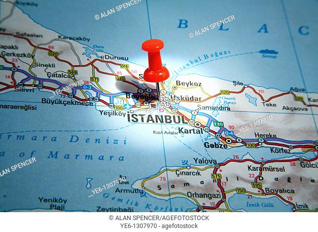 Map Pin pointing to Istanbul, Turkey on a road map