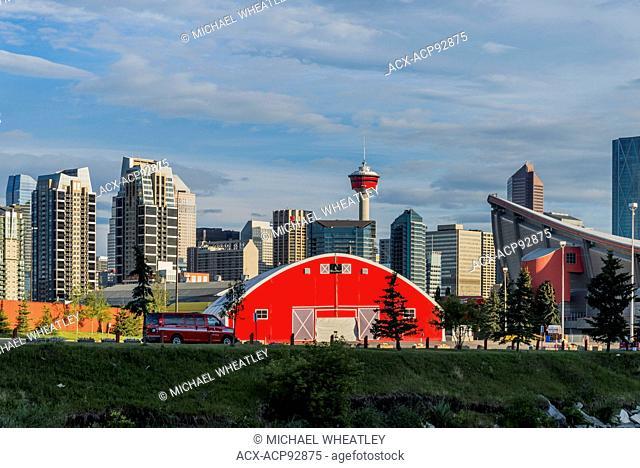 Skyline and red barn, Calgary, Alberta, Canada