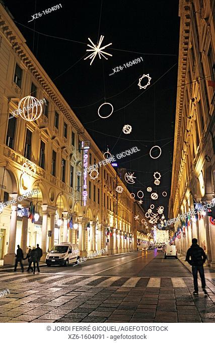 Palomar from Giulio Paolini, Luci d'Artista, artist lights, exhibition  Via Roma, Torino, Italy, Europe