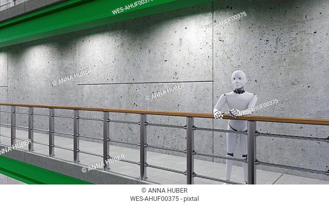 Robot standing in corridor, leaning on railing