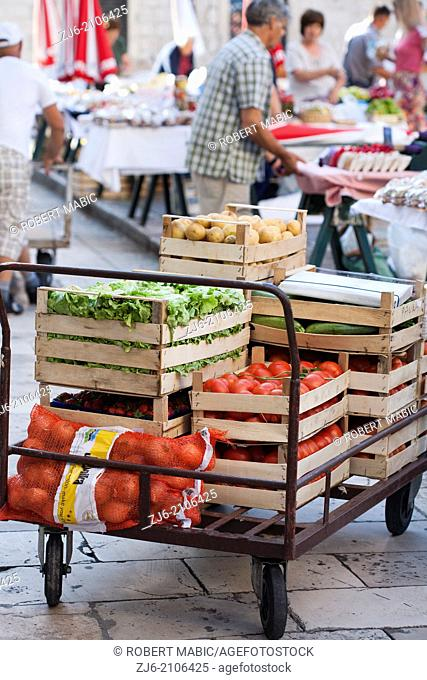 Cart of vegetables and fruits, Old town market Dubrovnik