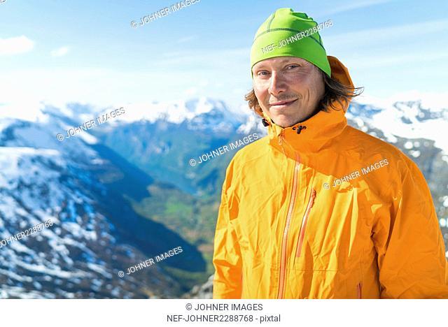 Portrait of smiling male hiker