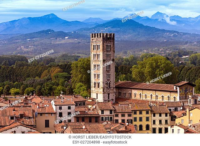 View from Torre Guinigi to the old town of Lucca. Basilica of San Frediano-Tuscany, Italy