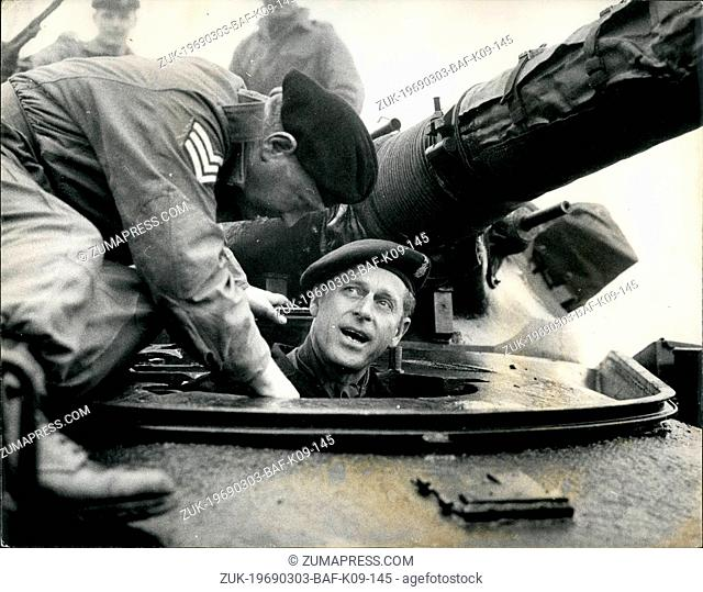 Mar. 03, 1969 - Prince Philip Drives Chieftain Tank: Prince Philip pictured yesterday in a 51-ton Chieftain tank which he drove for the first time during his...