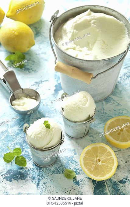 Small pots of limoncello and lemon sorbet with mint