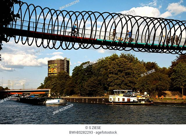 modern pedestrian and cycle bridge over the Rhine-Herne Canal, Germany, North Rhine-Westphalia, Ruhr Area, Oberhausen