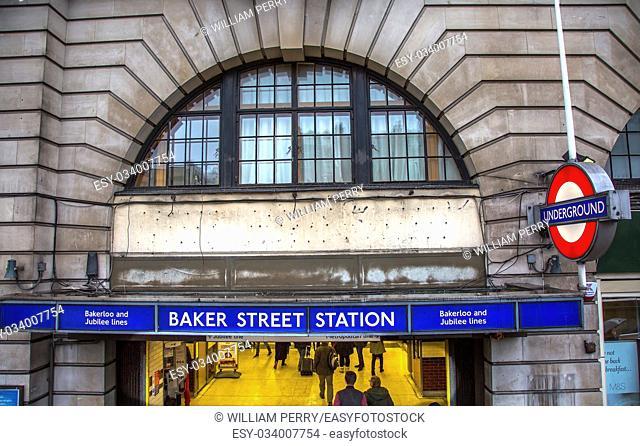 Baker Street Metro Subway Station London England. Tube Metro station Baker Street, home of fictionary character Sherlock Holmes