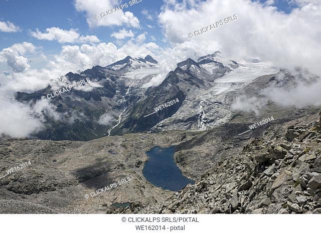 Panoramic view from the lobbia glacier, mandrone glacier and scuro lake, Sentiero dei Fiori in Adamello park, Brescia province, Europe, Lombardy district